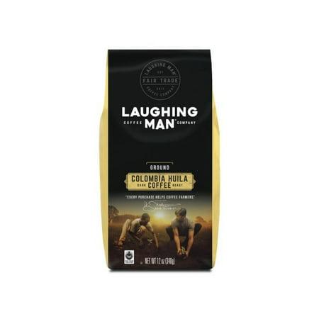 - Laughing Man Colombia Huila Ground Coffee, Fair Trade Certified, Dark Roast, Bagged 12oz