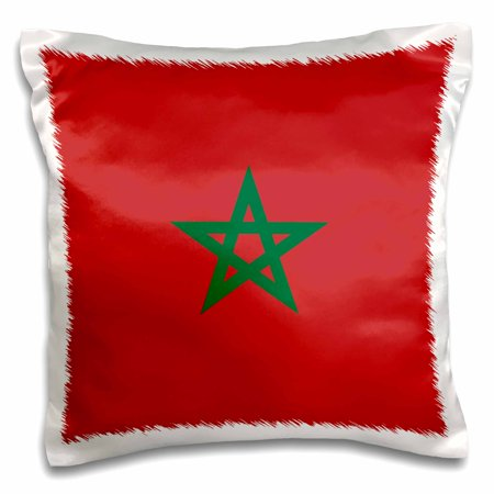 3dRose Flag of Morocco - Moroccan red with green pentagram star seal ensign - Africa African world country - Pillow Case, 16 by