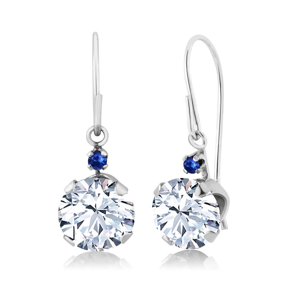 2.04 Ct Round White Topaz Blue Sapphire 14K White Gold Earrings
