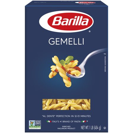 Barilla® Classic Blue Box Pasta Gemelli 16 oz At Barilla, we're passionate about pasta. After all, we have been pasta makers since 1877. As an Italian family-owned food company, Barilla pasta is synonymous with high quality and  al dente  perfection every time. Our Gemelli is made from the finest durum wheat and is non-GMO verified, peanut-free and suitable for a vegan or vegetarian diet. Gemelli is a simple shape of two strands of pasta twisted together. These small twists are also remarkably versatile, as their shape holds the flavor of sauce beautifully. The twists and spirals of Gemelli allow it to embrace both refined and simple sauces.