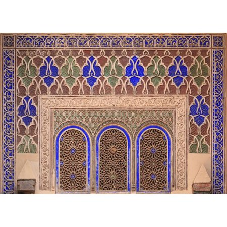 - Posterazzi DPI1842824LARGE Intricate Painted & Stucco Patterns On The Walls of A Riad - Marrakech Morocco Poster Print, Large - 32 x 22
