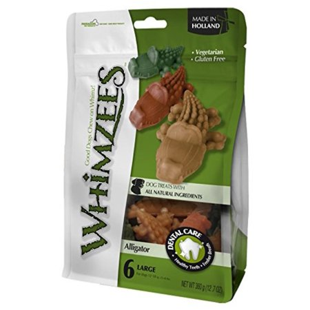 Whimzees Alligator Treat Dental Treat for Large Dogs, 6 Per Bag, For dogs 40-80 pounds By