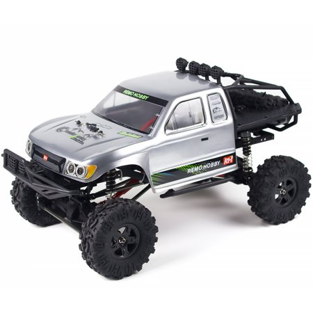 REMO 1/10 RC Car 4WD 2.4Ghz Rock Crawler Brushed Off Road Remote Control Truck Buggy Silver