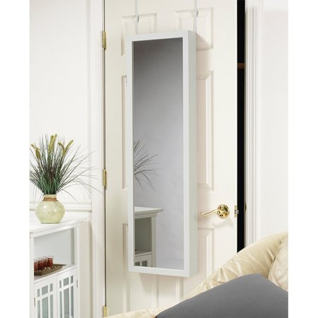 Mirrotek Plaza Astoria Over The Door   Wall Mount Jewelry Armoire With Full Length Mirror
