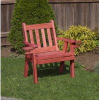 Outdoor Garden Lawn Exterior 2 Ft Rustic Red Finish Amish Heavy Duty 800 Lb Mission Kiln-Dried Pine Chair With Cup Holders