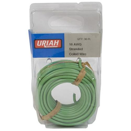 Uriah Products UA501630 Automotive Wire, Insulation, Green, 16 AWG, 30-Ft. - Quantity 1