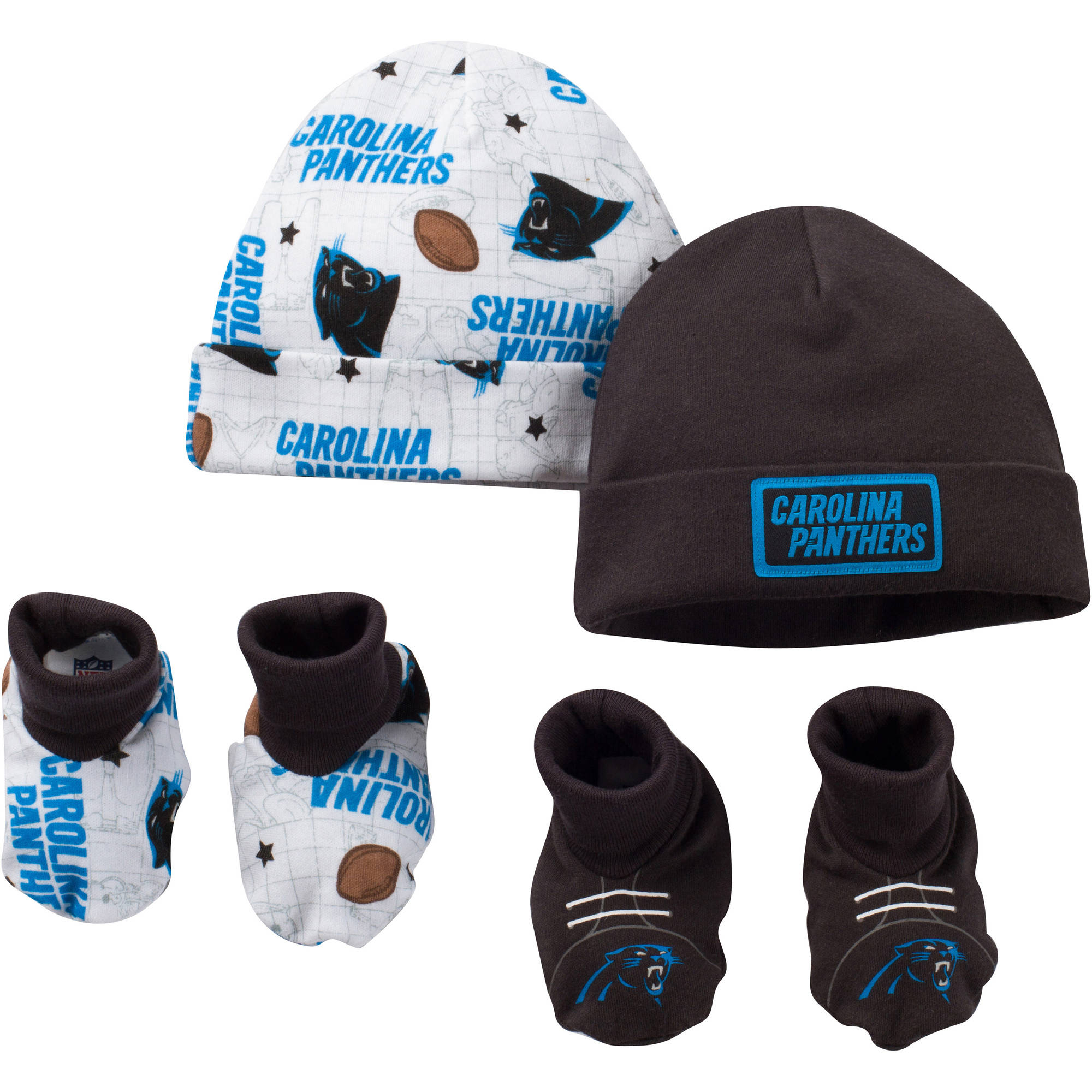 NFL Carolina Panthers Baby Boys Accessory Set, 2 Caps and 2 Booties, 4-Piece