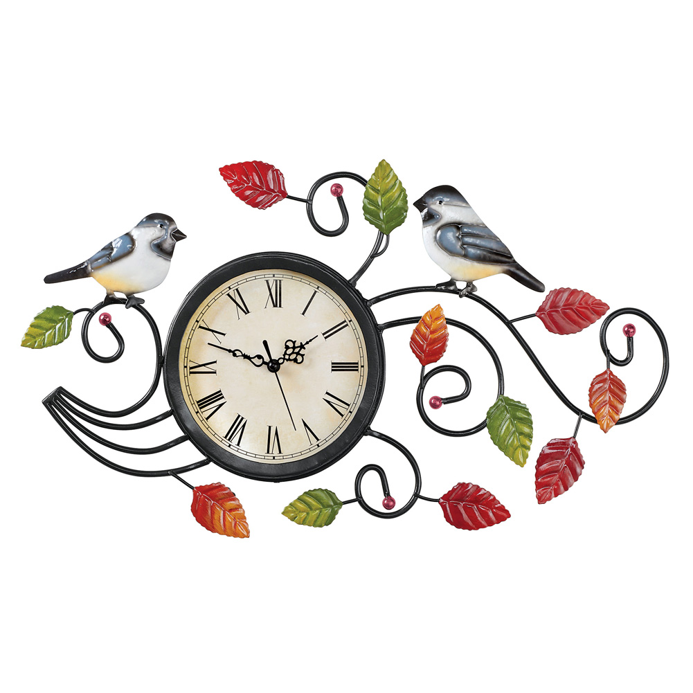 Two Chickadees Wall Clock with Leaves Metal Art