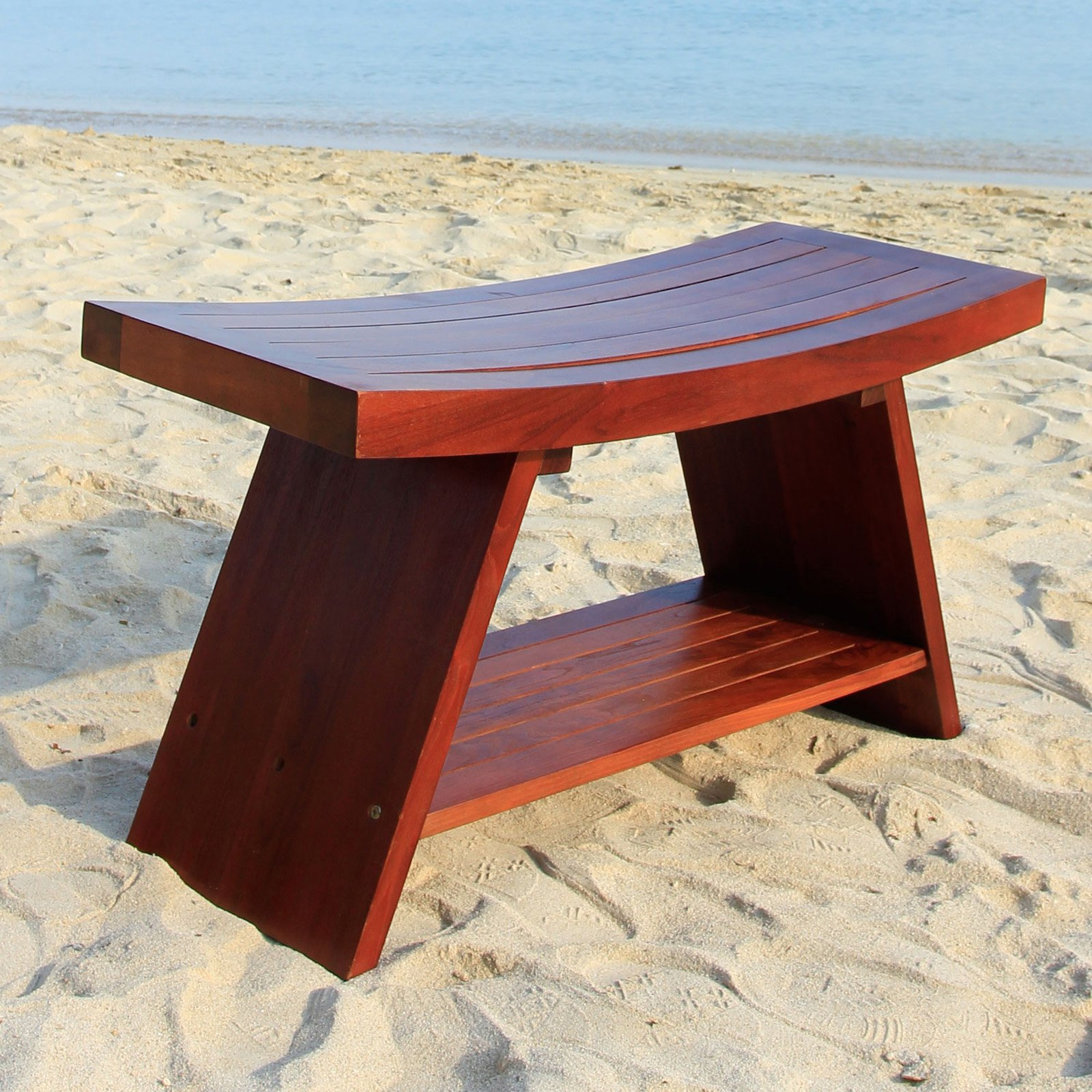 Asia 35 in. Teak Serenity Shower Bench w Shelf