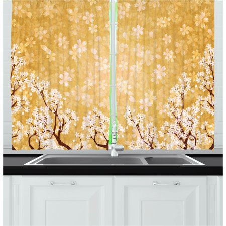 Floral Curtains 2 Panels Set, Trees Blossoms Buds Flowers of Spring Season Pedals Bodies Wind Nature Image, Window Drapes for Living Room Bedroom, 55W X 39L Inches, Yellow and White, by Ambesonne (Pedal Room)