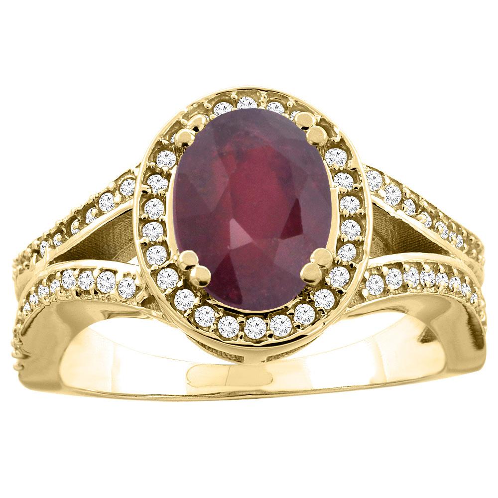 14k Yellow Gold Diamond Halo Genuine Quality Ruby Ring Split Shank Oval 8x6mm, size 5.5 by Gabriella Gold