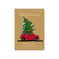 Personalized Holiday Card - Traveling Tree - 5 x 7 Flat