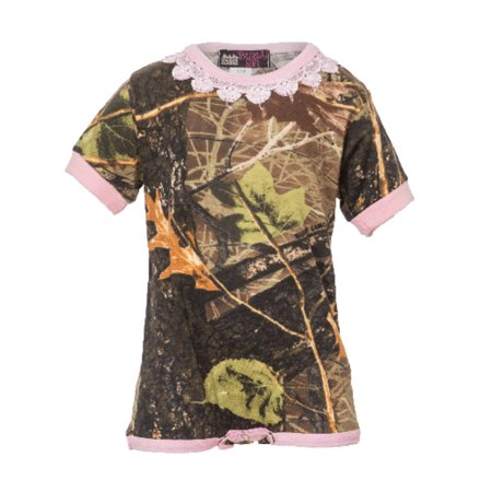 Trim 1 Piece - Baby Girl One-Piece Camouflage Body Suit with Lace Trim