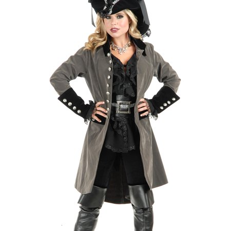 Womens Pirate Vixen Gun Metal Grey And Black Velvet Long Jacket Coat - Vixen Pirate Halloween Costume