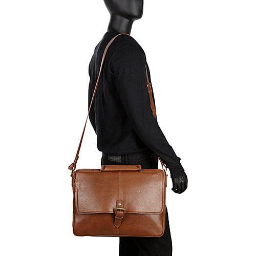 HIDESIGN Charles Leather 15 Laptop Compatible Briefcase Work Bag Black
