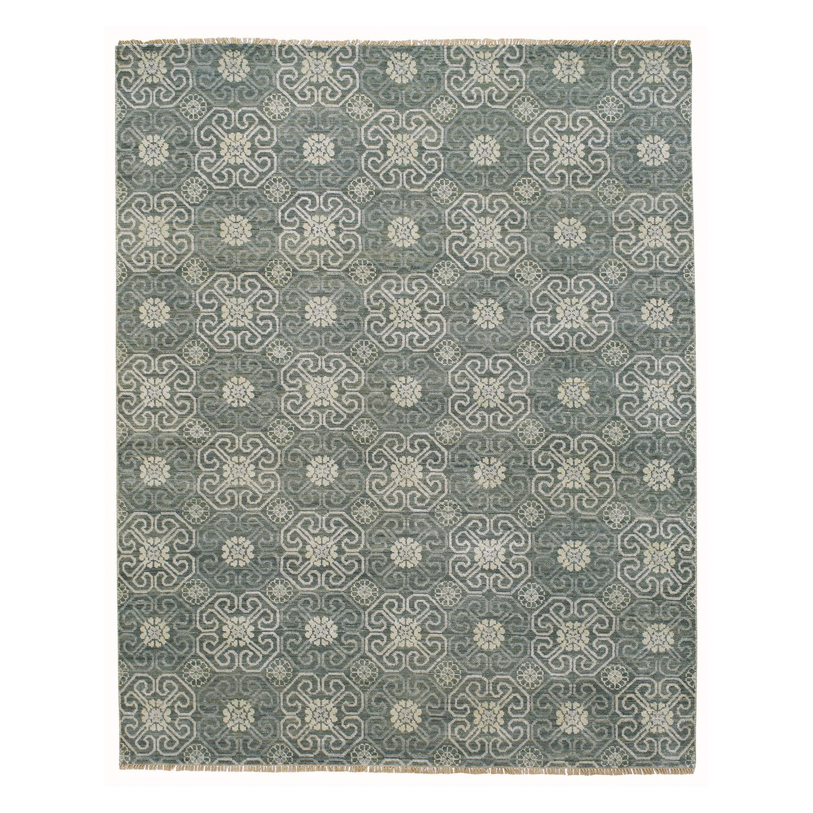 Burmese Flower Hand Knotted Rectangular Area Rug, Assorted Sizes