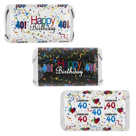 Happy 40th Birthday Party Decoration Stickers for Hershey's Miniatures Candy Bars (Set of 54)