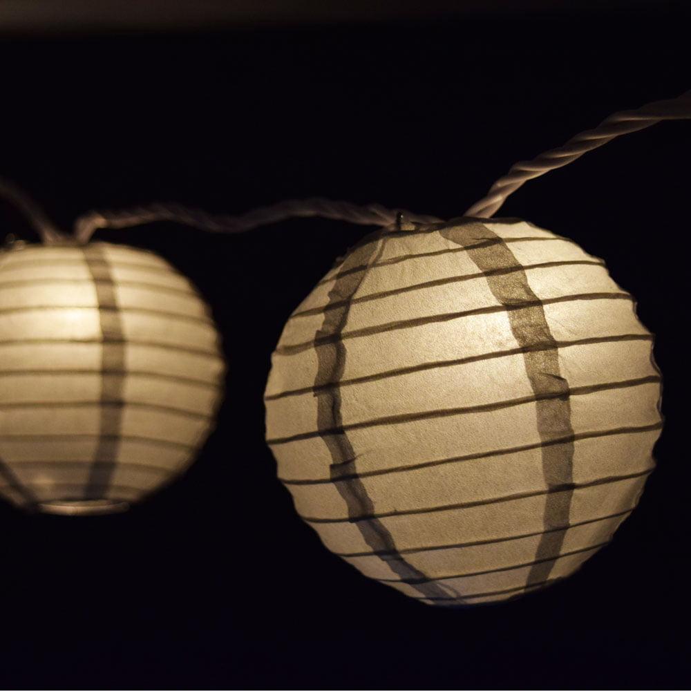 "Quasimoon 10 Socket Silver Round Paper Lantern Party String Lights (4"" Lanterns) by PaperLanternStore"