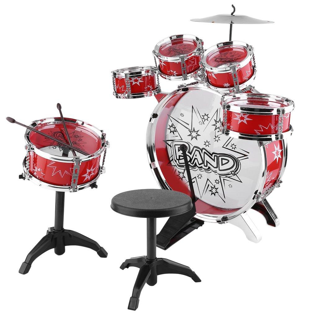 Kids Junior Drum Set, Children Tom Drums Cymbal Stool Dru...