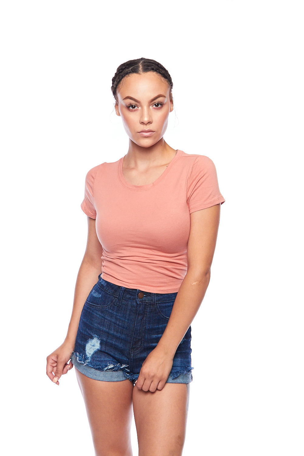 Womens Fitted Basic Solid Round Neck Short Sleeves Crop Top RT32675-S-D. Rose