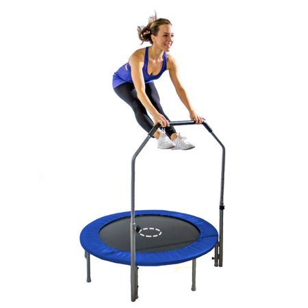 TruJump 48-Inch Mini Trampoline, with Handle Bar, Blue