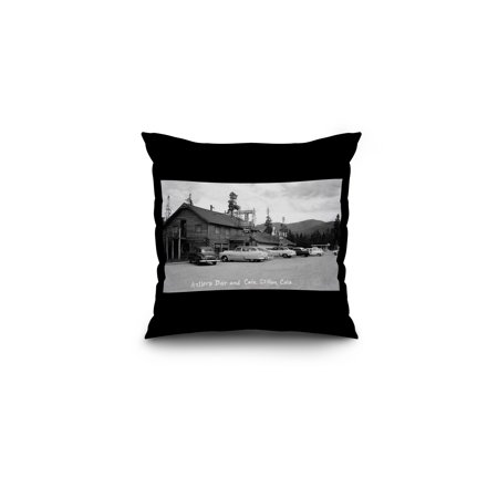 Dillon, Colorado - Antlers Bar and Caf? Exterior Photograph (16x16 Spun Polyester Pillow, Black Border)