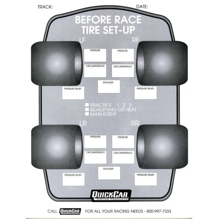 Quickcar Racing Products Before Race Tire Setup Chart 50 pc P/N