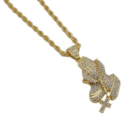 - Gold-Plated Iced Out Hip Hop Bling Praying Hands with Cross Rosary Pendant and Rope Chain 24