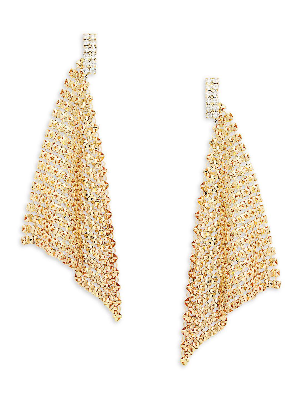 Rhinestone Goldtone Mesh Drop Earrings