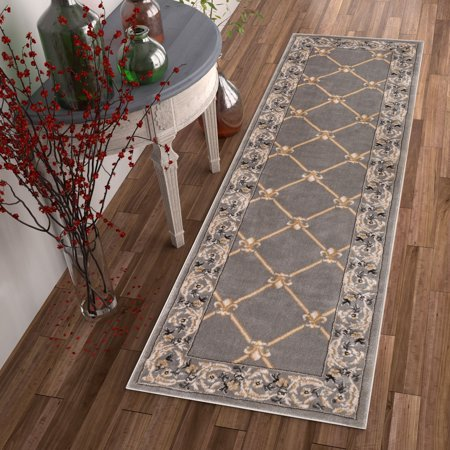 Patrician Trellis Grey Lattice Area Rug European French Formal Traditional Area Rug 3' x 12' Runner Easy Clean Stain Fade Resistant Shed Free Classic Contemporary Thick Soft Plush Living Dining Room ()