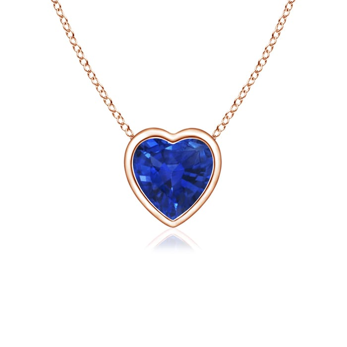 Angara Bezel-Set Heart Shaoed Sapphire Pendant in 14k Rose Gold