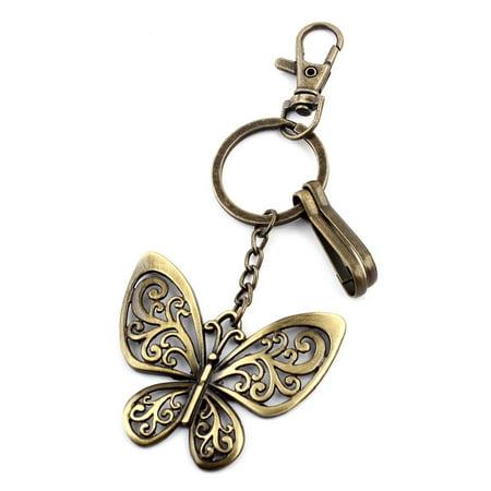 Butterfly Key Rings - Wallet Metal Butterfly Shaped Ornament Key Ring Keychain Bronze Tone