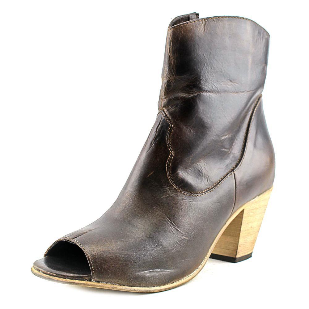Dingo Koko Women Peep-Toe Leather Brown Western Boot by Dingo