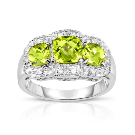 - 14k White Gold Cushion Peridot and Diamond (0.15 Ct, G-H, SI2) Cocktail Ring