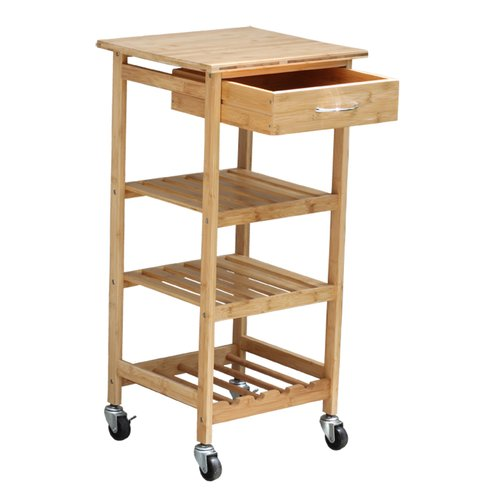 Oceanstar Bamboo Kitchen Trolley