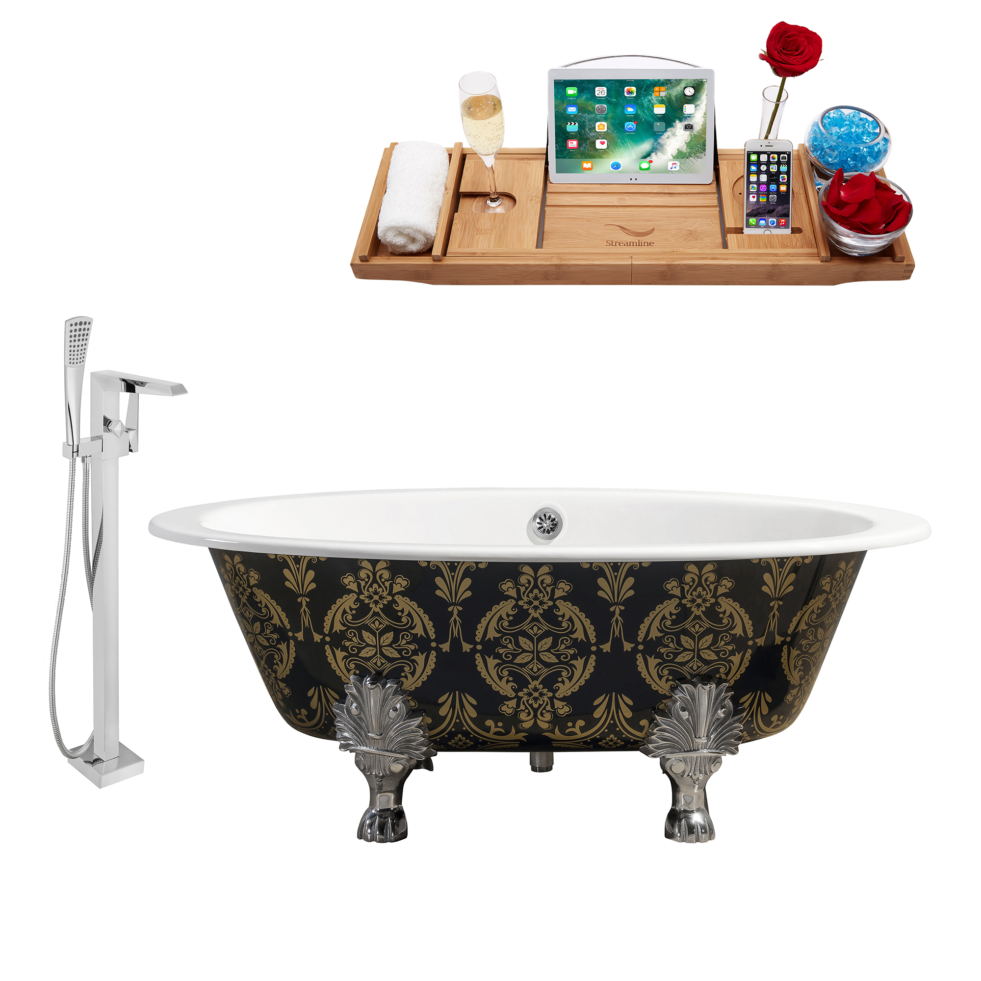 "Cast Iron Tub, Faucet and Tray Set 65"" RH5440CH-CH-100"