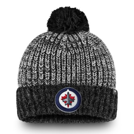 Winnipeg Jets Fanatics Branded Iconic Cuffed Knit Hat with Pom - Black/Gray - (Winnipeg Jets Hockey)