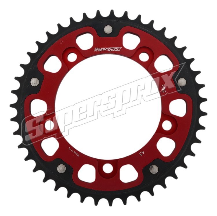 New Supersprox - Red Stealth Sprocket, 43T, Chain Size 525, Rst-1792-43-Red