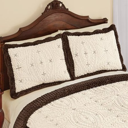 Embroidered Faux Fur Two-Toned Pillow Sham-Sham-Chocolate/Cream ()