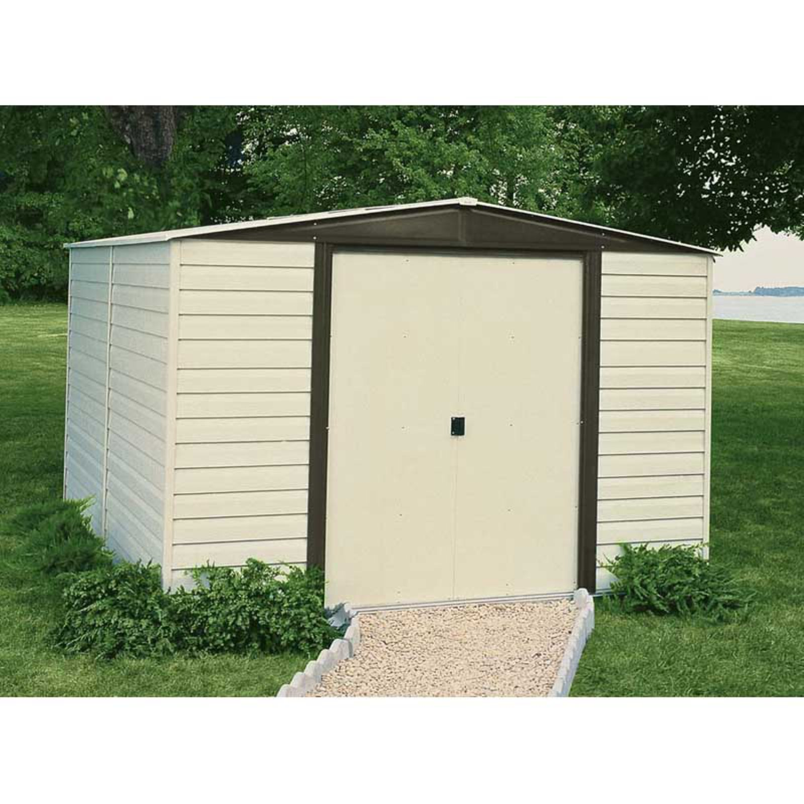 Vinyl Dallas 10 x 12 ft. Steel Storage Shed Coffee/Almond