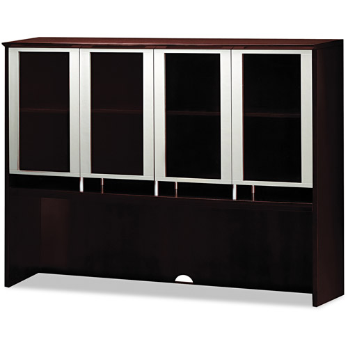 Mayline Napoli Series Assmbld Hutch with Glass Doors, Mahogany
