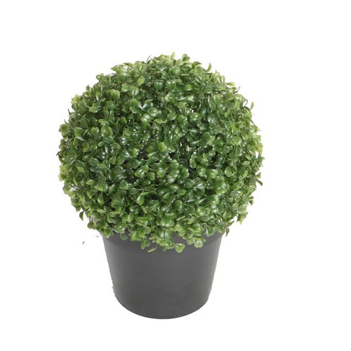 "10.5"" Potted Artificial Two Tone Green Boxwood Spring Garden Decoration"