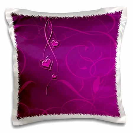 3dRose Elegant Dangling Hearts on Vine Design, Fuschia Pink - Pillow Case, 16 by 16-inch ()