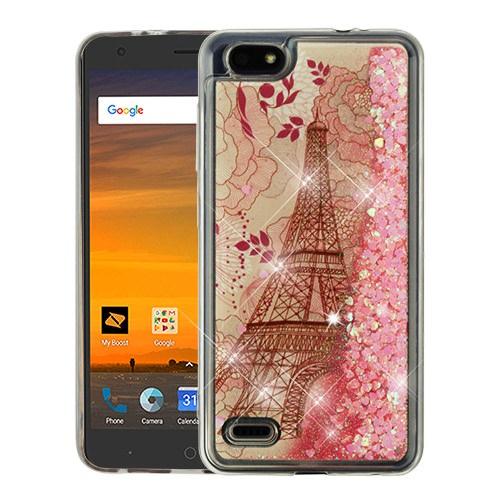 For ZTE Avid 557 / ZTE Tempo Go Case Hybrid Quicksand Liquid Glitter TPU Phone Cover (Eiffel Tower & Rose Gold Quicksand (Stars) Glitter)