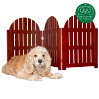 FurHaven Pet Gate | Paw Pattern Pet Gate, Pecan