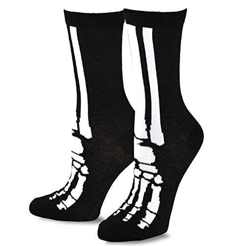 TeeHee Novelty Young Men Halloween Skeleton Fun Crew Socks