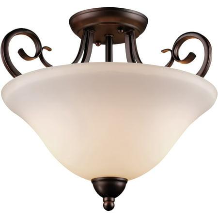 Semi Flush 2 Light Fixture With Antique Bronze Finish Metal E26 Bulb 15