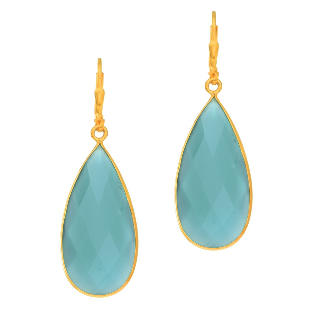 Silver With Yellow Finish Tear Drop Earrings With Brolite Aqua Chalcedony Leverback Clasp by