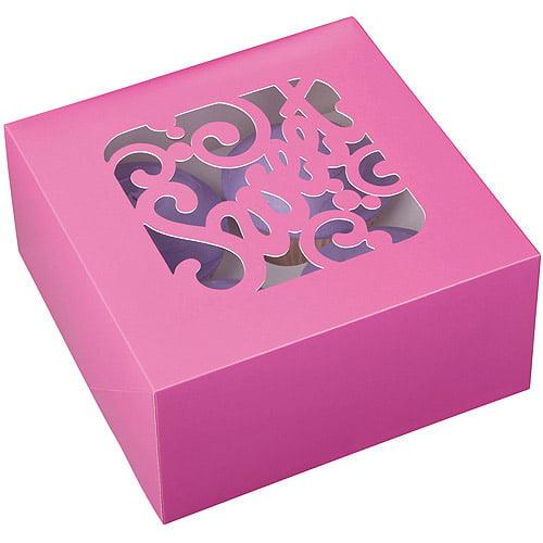 Wilton 4-Cavity Cupcake Box, Sweet Pink 3 ct. 415-0946