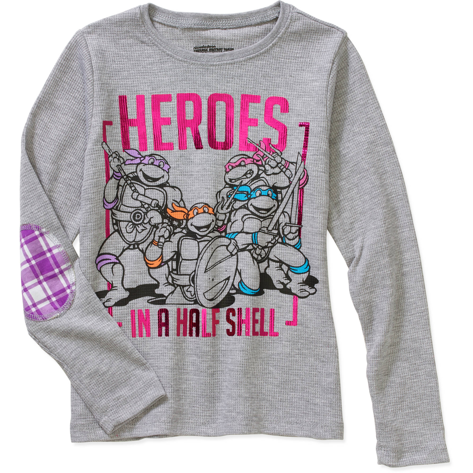 Heroes In A Half Shell Little Girls' Long Sleeve Thermal With Elbow Patch